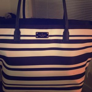 Kate Spade black and white stripe tote